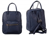 JBFB282 NAVY PU SQUARE BACKPACK W/ FRONT POCKET