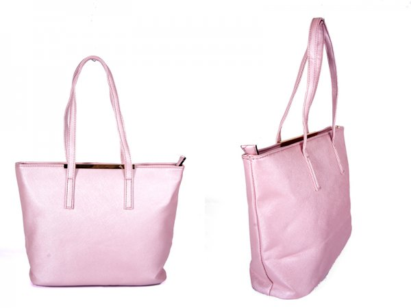 JBFB137 LIGHT PINK PU BAG WITH METAL TOP AND ONE ZIP