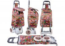 ST 01 BROWN BUTTERFLY PRINT 2 WHEEL SHOPPING TROLLEY