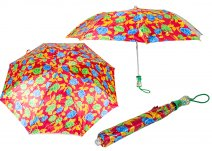 CASAVIA RED/BLUE/GREEN FLOWER PRINT UMBRELLA