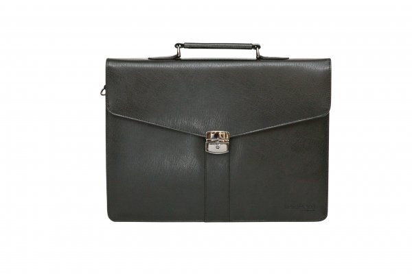 "9895-AB Tassia Black Bonded Leather 15.6"" Laptop Briefcase"