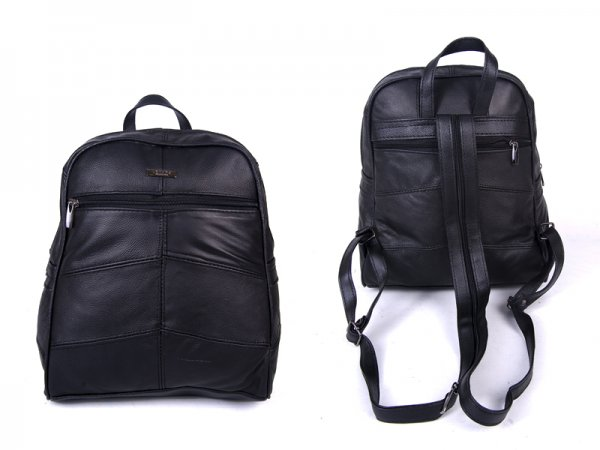 3759 NEW BLACK LARGE BACKPACK WITH LARGE TOP ZIP, FRONT &