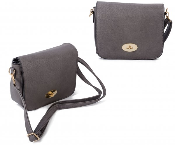 JBFB241 GREY CROSS BODY PU BAG WITH FLAP