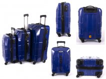JCB009 BLUE SET OF 3 TROLLEY BAGS WTH 4 SWIVEL WHEELS