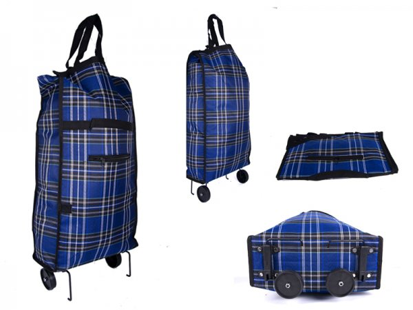 6951 blue check Folding 2 wheel Shopping Trolley