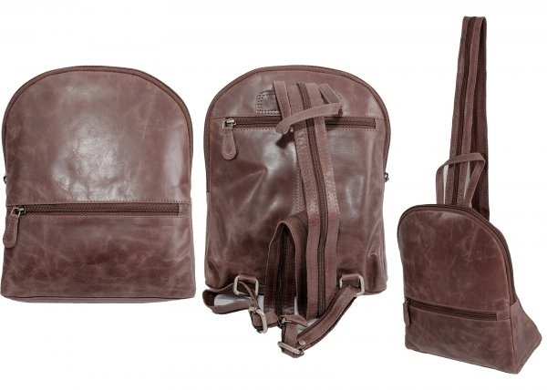 2019 100% REAL LEATHER BACKPACK BROWN
