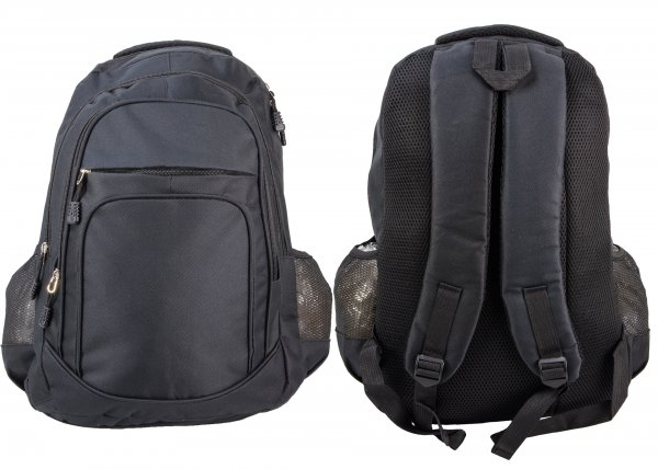 BP-105 BLK RUCKSACK W/ 4 ZIPS AND 2 NETTED POCKETS