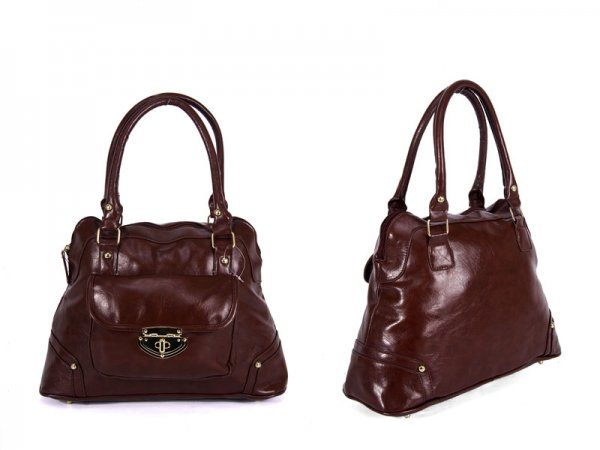 JBFB36 BROWN PU BAG WITH CLASP FRONT POCKET