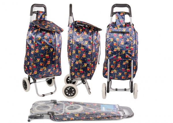 ST-08 NAVY OWL PRINT 2 WHEEL SHOPPING TROLLEY