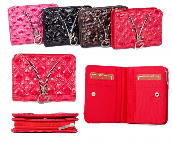 PU-28 RED PU PURSE W/ ZIP AND C.CARD HOLDERS