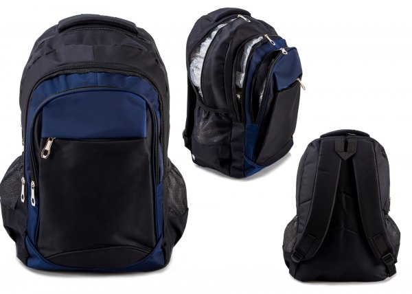 BP-108 BLK/NAVY RUCKSACK W/ 4 ZIPS AND 2 NETTED POCKETS