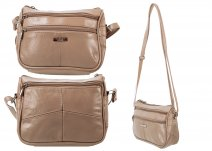 3758 TAUPE Small Across Body Bag with Top Zip 2 Front