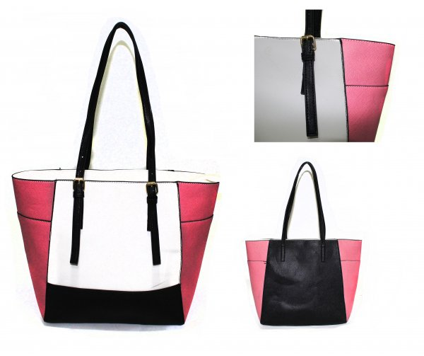 JBFB266 - White / Pink - Handbag with Adjustable Strap