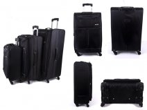 EV-424 BLACK SET OF 3 4 WHEEL TRAVEL LUGGAGE