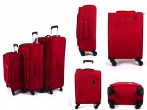 JB2008 RED SET OF 3 TROLLEY BAGS WTH 4 SWIVEL WHEELS