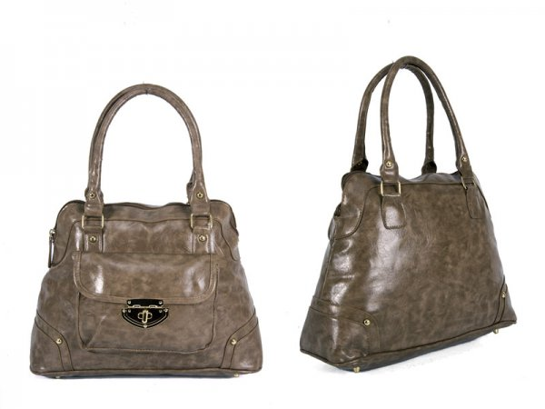 JBFB36 MINK PU BAG WITH CLASP FRONT POCKET