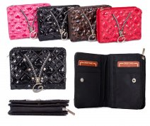 PU-28 BLACK PU PURSE W/ ZIP AND C.CARD HOLDERS