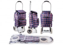 ST-CH-03 NAVY CHECK 2 WHEEL SHOPPING TROLLEY
