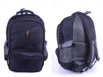 "2596 DARK GREY ""DENIUM"" LOOK BACKPACK WITH 4 ZIPS & SIDE P"