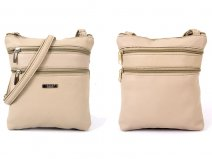 5894 BEIGE leather Gran PU Top Zip Bag with 4 Zips