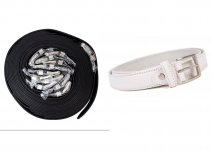 "2720 WHITE 1"" SMOOTH FINISH BELT WITH SILVER BUCKLE DOZEN"