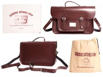"IN-NEW 15"" WINE RED SATCHEL WITH HANDLE"