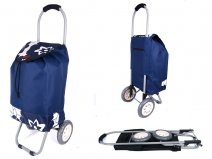 6958 NAVY FLOWERS 2 WHEEL SHOPPING TROLLEY