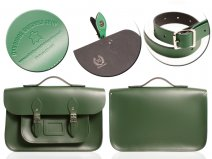 "12"" RACING GREEN MAGNETIC SATCHEL W/HANDLE"