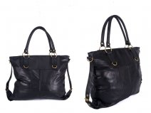 HB-22 BLACK LEATHER BAG WITH 1 ZIP SIDE BUCKLE DETAIL