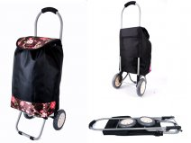 6958s BROWN flowers Lorenz 2 wheeled shopping trolley