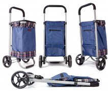 6962/W Blue checkered Collapsible Shopping Trolley