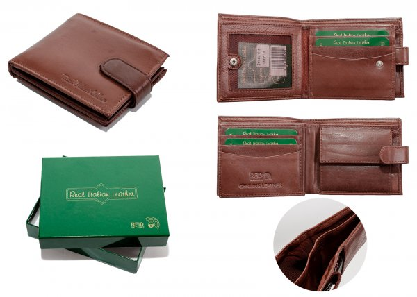 1212 BROWN - RFID CARD PROTECTION GENUINE LEATHER WALLET GRN BOX