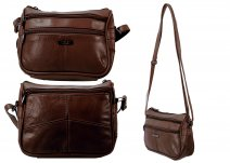 3758 BROWN Small Across Body Bag with Top Zip 2 Front