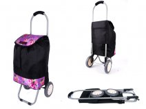 6958 PINK ROSE 2 WHEEL SHOPPING TROLLEY