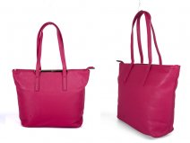 JBFB137 BRIGHT PINK PU BAG WITH METAL TOP AND ONE ZIP