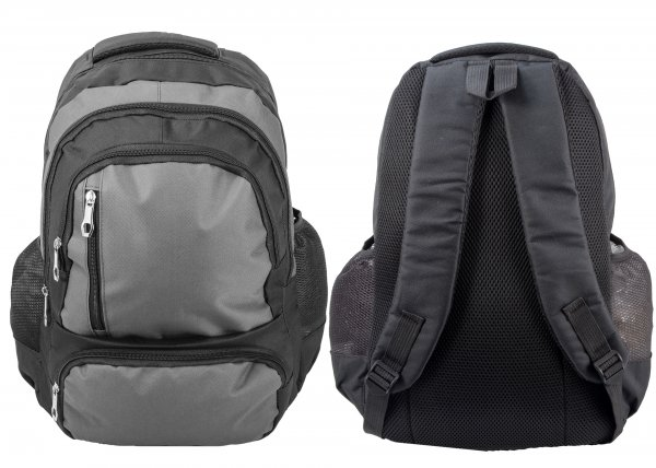 BP-107 BLK/GREY RUCKSACK W/ 5 ZIPS AND 2 NETTED POCKETS