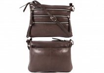 0502 DARK BROWN Smth C.Nappa Top Zip X-Body Bag, 3 Zips