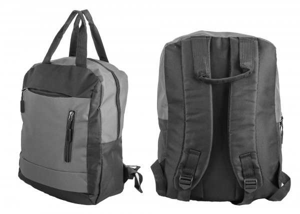 BP 116 BLK/GREY RUCKSACK W/ 3 ZIPS AND 2 CARRY HANDLES