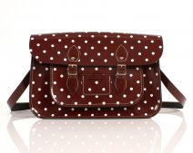 RL15 PATENT OXBLOOD RED POLKA DOT ENGLISH NEW