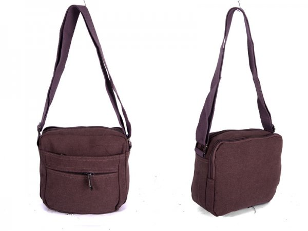 2535 BURGANDY Canvas X-Body Bag with 4 Zips