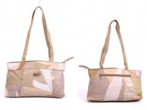 PL05156 Beige KL Moda real leather patchwork bag