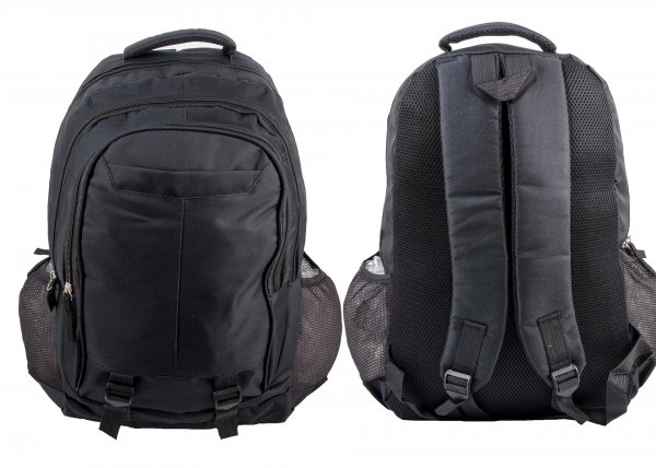 BP106 BLK RUCKSACK W/ 4 ZIPS AND 2 NETTED POCKETS