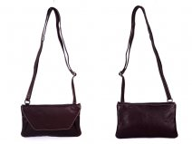 RL 666 BROWN LEATHER BAG WITH POPPER FLAP