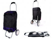 6958 PURPLE FLOWERS 2 WHEEL SHOPPING TROLLEY