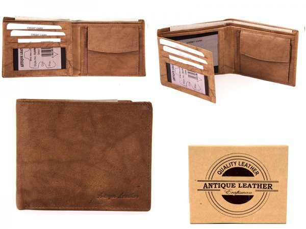 1066 TAN ANTIQUE LEATHER RFID WALLET