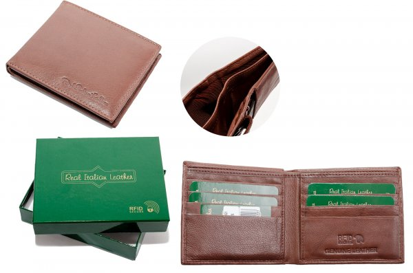 1061 BRN ITALIAN LEATHER WALLET W/ RFID - NEW GREEN BOX