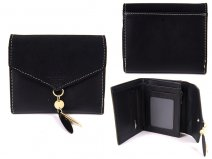 7144 BLACK SMALL ENVELOPE STYLE FLAPOVER PURSE RFID CHARM
