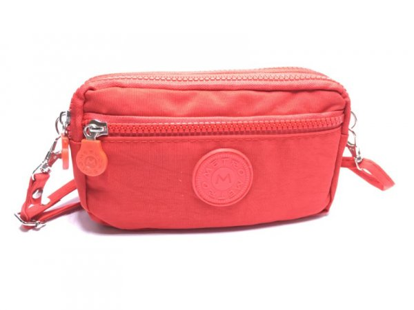 LL-7 Plain Red Metro Pouch Bag With Strap