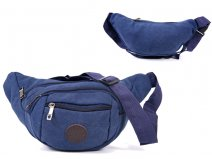 2556 BLUE Multi Zip Oval Shaped Bumbag 4 Zips