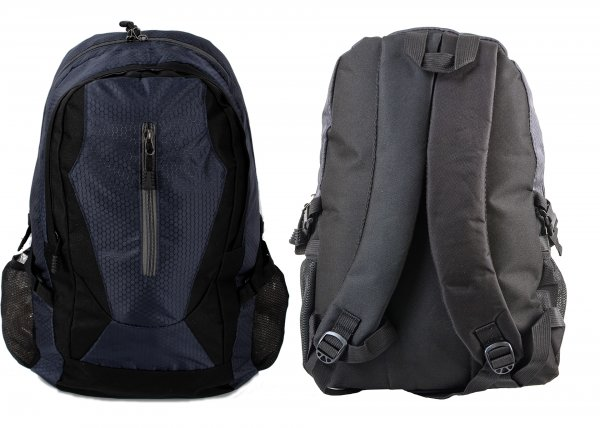 BP-109 BLK/GREY RUCKSACK W/ 3 ZIPS AND 2 NETTED POCKETS